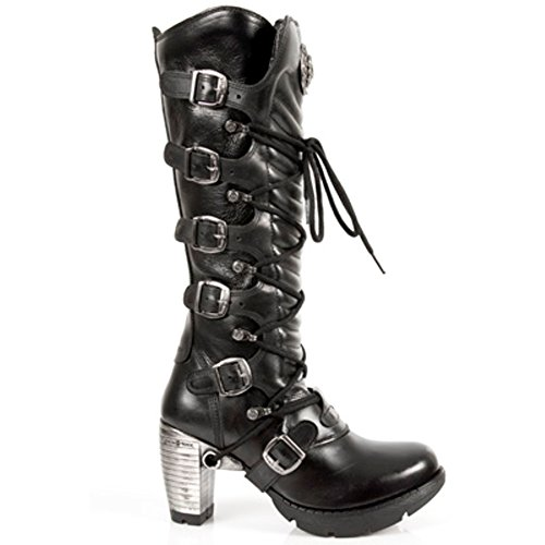 NEWROCK TR004-S1 Ladies Black Leather Buckle Lace Knee High Zip Boots.