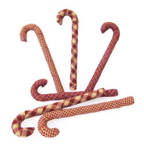 - Jubilee Creative Studio Set of 6 Red Plaid Homespun Fabric Covered Candy Canes for Christmas
