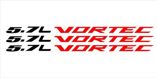Red 5.7 Liter Red Vortec Hood Cowl Vinyl Decal Emblem Fits Chevy Silverado GMC Sierra - Cowl Emblem