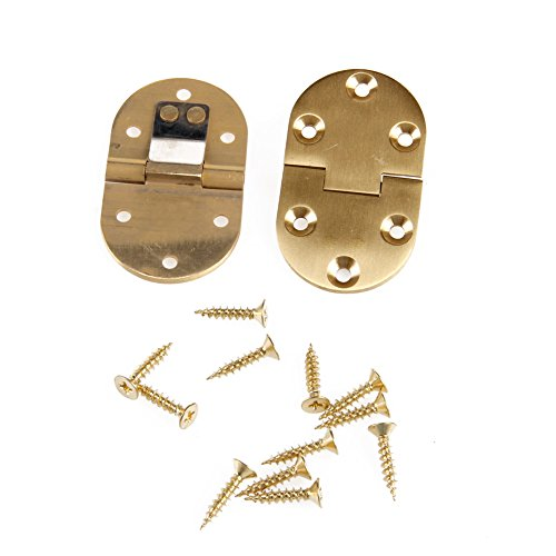 Kangnice 2Pcs Solid Brass Butler Tray Hinge Round Edge Folding Flaps with 12 - Round Edge