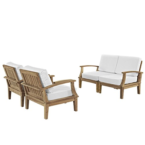 Modern Contemporary Four PCS Outdoor Patio Teak Sofa Set, White, Fabric, Wood