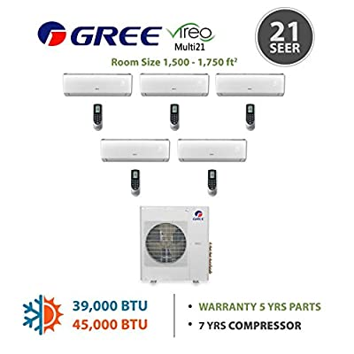 GREE Multi21 Penta-Zone VIREO Ductless Mini-Split System