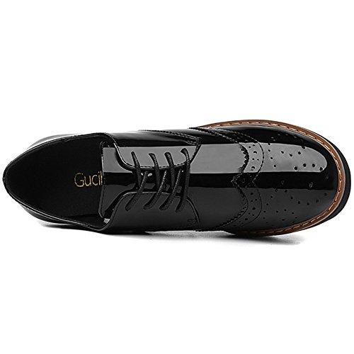 U-mac Dames Verhoogd Binnen Sneakers Ronde Neus Soepele En Lichte Vamp Schoenen Anti-slip Dikke Zool Wandelschoenen Zwart