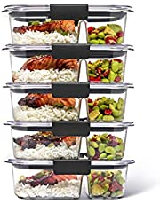 Rubbermaid Brilliance Meal Prep Containers, 2-Compartment Food Storage Containers, 2.85 Cup, 5-Pack