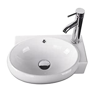 Sliverylake Corner Wall Mount Sink Bathroom White