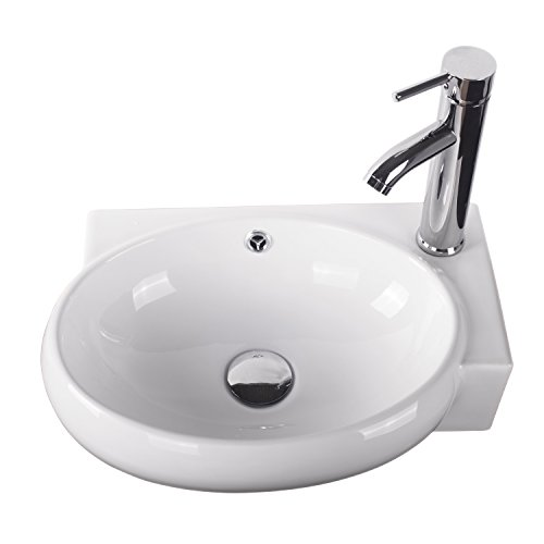 Best Prices! Sliverylake Corner Wall Mount Sink Bathroom White Porcelain Ceramic Vessel Sink and Fau...