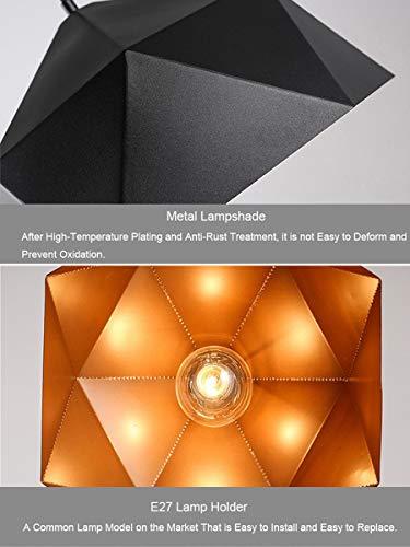 NANGE Wrought Iron Diamond Pendant Lamp, Industrial Wind Ancient Ways Geometry Pot Droplight,Cafe Restaurant Chandelier,E27(Without Light Source) (Color : Black, Size : AC 110V) by NANGE (Image #6)
