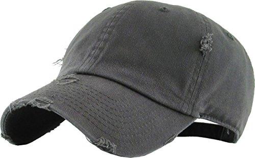 H-218-D70 Distressed Dad Hat Vintage Baseball Cap - Charcoal