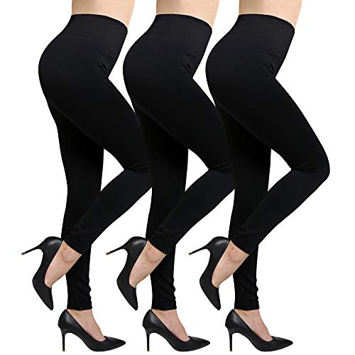 Fleece Lined Leggings For Women High Waist,Elastic and Slimming (Black-3pack)