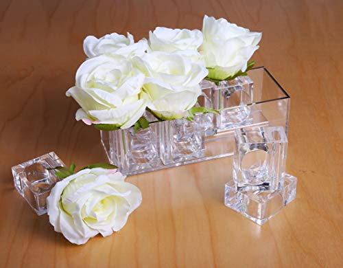 Acrylic Flower Box for 8 Bud Vase Napkin Rings, Home Decor Set for Tabletop Accessory, Decorative Storage, Party or Wedding Centerpiece By Deco-Mate  ()