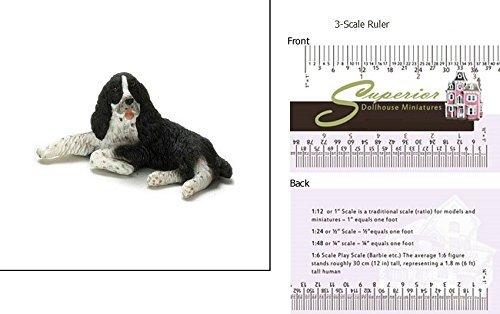 Dollhouse Miniature Black & White Springer Spaniel - Black & White Springer