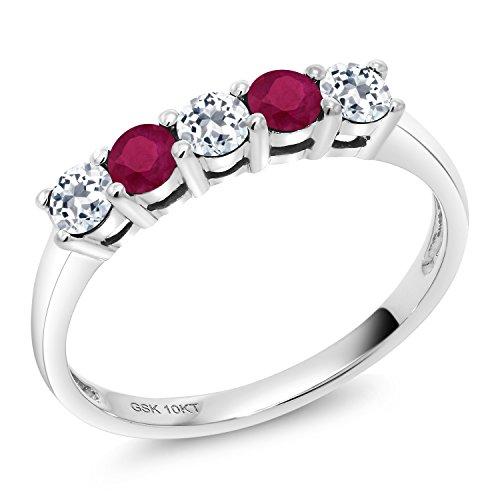 Gem Stone King 0.70 Ct Round White Topaz Red Ruby 10K White Gold 5 Stone Anniversary Band Ring (Size 9)