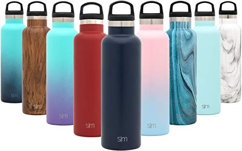Simple Modern Personalized 32oz Custom Ascent Water Bottle - Gifts for Men & Women Custom Laser Engraved Name - Stainless Steel Tumbler Double Wall Vacuum Insulated -Deep Ocean