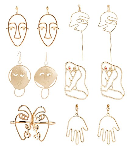 Earrings Picasso (Mrotrida Face Earrings Set Abstract Art Human Face Hand Dangle Earring & Face Rings for Girls Fashion Geometric Statement Earrings Party Birthday Valentine's Day Christmas 6 Pair)