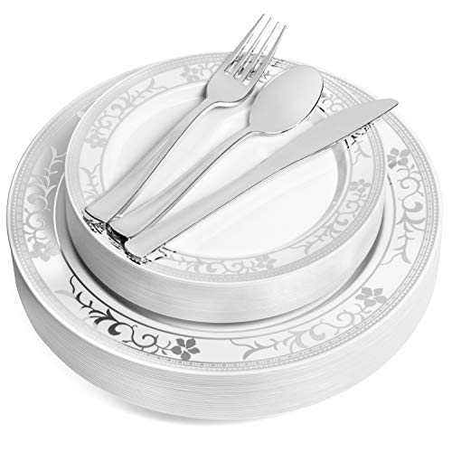 125 Piece Silver Rim Flower Design Dinnerware Set - 25 Guest Tableware Combo Set - Disposable or Reusable - 25 Dinner Plates - 25 Salad Plates or Dessert Plates - 25 Knives - 25 Forks - 25 Spoons ()