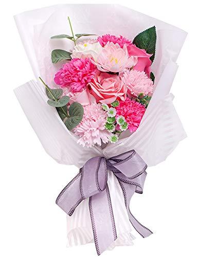 [해외]REEMONDE 비누 꽃 장미 조화 시드는 꽃 비누 꽃다발 경로의 날 기프트 반투명 상자 메시지 카드가 포함 된 인테리어 발렌타인 데이 크리스마스 어머니날 생일 선물 승진 이사 기념일 (장미빛 (장미 + 카네이션)) / REEMONDE Soap Flower Rose Artifi...