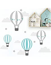 Little Deco Muursticker kinderkamer ballon wolken sterren mint grijs I muurschildering 115 x 58 cm (B x H) I Muurtattoo Babykamer Jongen DL522