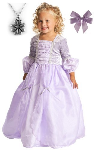 Rapunzel Deluxe Princess Dress-up with Necklace and Hair Bow - MEDIUM