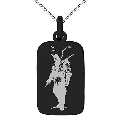 Tioneer Black Stainless Steel Mortal Kombat Scorpion Engraved Small Rectangle Dog Tag Charm Pendant Necklace -