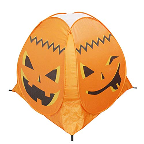 Amosfun Pumpkin Tent Halloween Party Props Kids Indoor Outdoor Playhouse Castle Game Tent Children Haunted House Halloween Ghost Festival Prop (Orange) ()