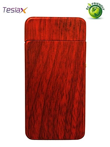 TeslaX Electric Dual Arc Marble and Wood Grain Tesla USB Rechargeable Cigarette Camping Hiking Flameless Windproof Eco-Friendly Souvenir Lighter (Dragon)