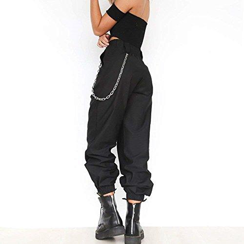 Fashion Eleganti Sportivi Libero High Costume Colori Nero Allentato Pantaloni Estivi Femminile Accogliente Donna Sciolto Pantalone Solidi Pantaloni Tempo Sportivi Pantaloni Primaverile Waist qxvWtB