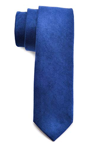 Men's Solid Color Skinny Ties Causal Wool Cashmere Blend Slim cut Formal Necktie (One Size, Royal -