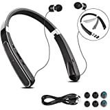 Foldable Bluetooth Headsets, BAIKAWA Wireless Neckband Headphones 33 Hrs Playtime with Retractable Earbuds, Sports Sweatproof Stereo Earphones with Mic for iPhone, Android, Cell Phone (Black)