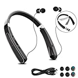 Wireless Neckband Headphones, BAIKAWA Foldable Headsets 30 Hrs Playtime with Retractable Earbuds, Sports Sweatproof Stereo Earphones with Mic for iPhone, Android, Cell Phone (Black)