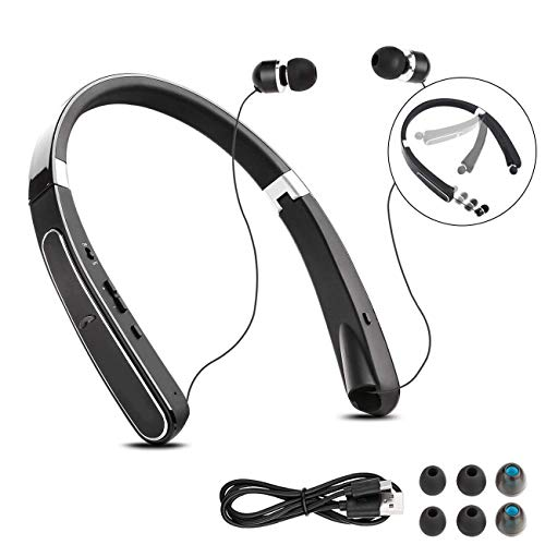 Foldable Bluetooth Headsets, BAIKAWA Wireless Neckband Headphones 30 Hrs Playtime