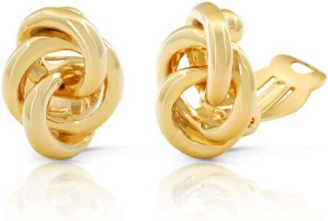 JanKuo Jewelry Gold Plated Interlocking Circles Clip On Earrings