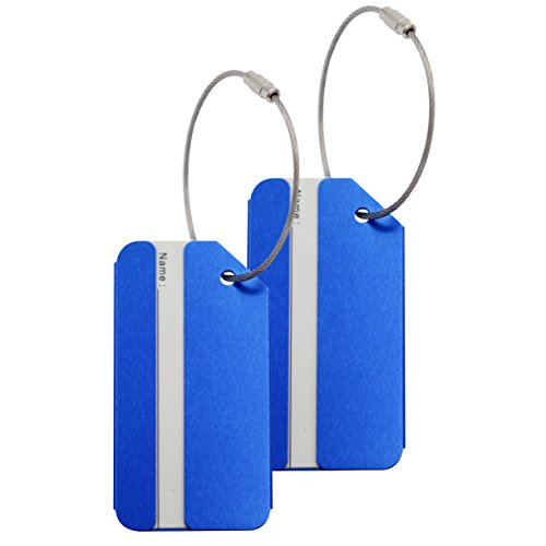 Set of 2 Luggage Tags Suitcase Bag Labels Aluminium Metal Travel Suitcase ID Identifier Tag Labels Bag Baggage Name Address Label with Screw Chain - (Metal Luggage Tag)