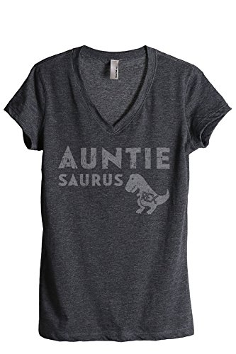 Thread Tank Auntiesaurus Rex Womens Relaxed V-Neck T-Shirt Tee