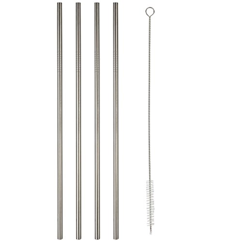 Home-X - 10-Inch Stainless Steel Drinking Straws (Set of 4), Classic Look Goes Great with Iced Tea, Lemonade or Any Cold Beverage