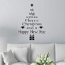 Yiwa Removable Christmas Tree Shape Wall Sticker Waterproof Art Mural Window Sticker for Christmas Window Glass Decoration