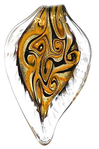 Black Yellow Gold Swirl Sparkle 66mm Leaf Drop Lampwork Glass Pendant ()