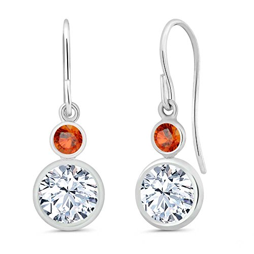 2.26 Ct Round White Topaz Orange Sapphire 925 Sterling Silver Earrings