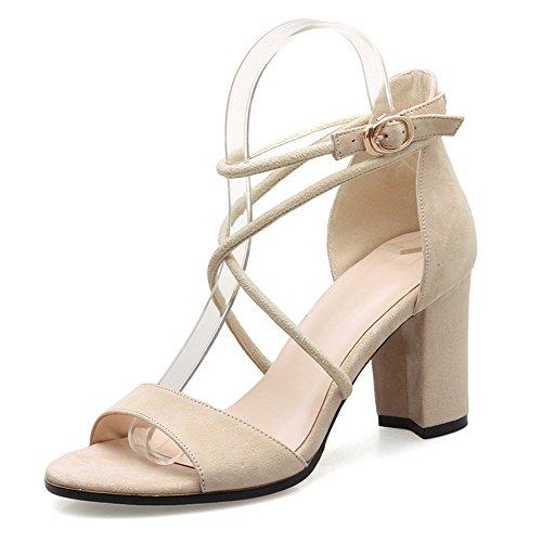 Sandals ZHIRONG Women's Summer High Heel Vintage Rome Ankle Straps Open Toe Thick Heel Shoes One-button Buckle Women's Shoes 7.5CM (Color : Beige, Size : EU37/UK4.5-5/CN37) Beige