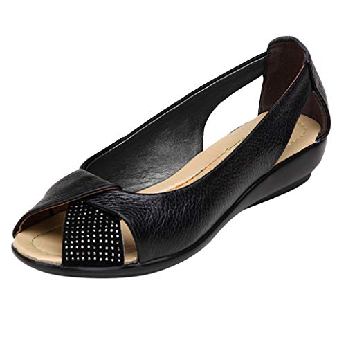 Nadition Ladies Roman Single Shoes ❤️️Women Summer Embossed Wedge Shoes Casual Peep Toe Cutout Single Shoes Black