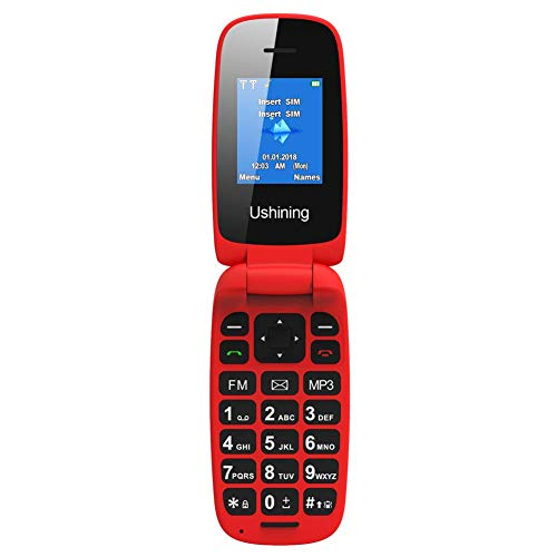 USHINING Red Flip Mobile Phone Big Button Easy to Use,SIM Free...
