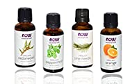4-pack Now Foods Essential Oils: Christmas Scent: Peppermint, Cedarwood, Pine, Orange Oil