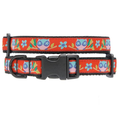 Max & Zoey Owl Dog Collar, X-Small, Red