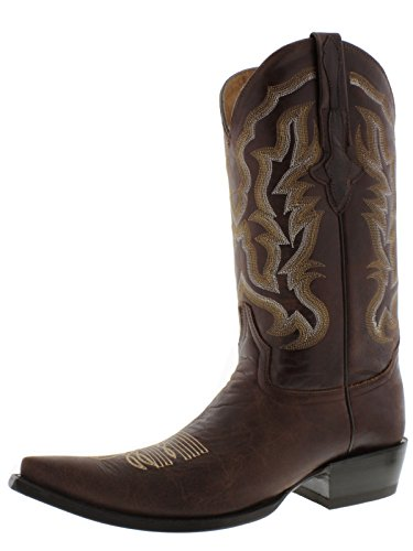 El Presidente Mens Brown Casual Stitched Leather Western Cowboy Boots 3X Toe Brown H0eIFd9U1d