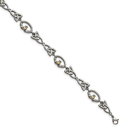 En acier inoxydable poli Jaune ip-plated-Bracelet Femme-Claddagh 19,7cm-16
