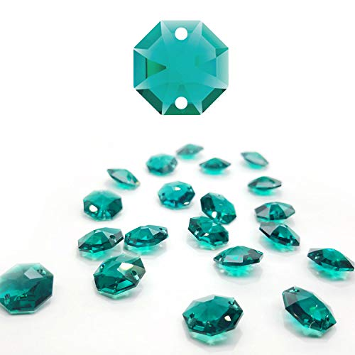 (CrystalPlace 12 Pcs Swarovski Crystal, 14mm Emerald, Two Holes Strass Octagon Lily, Ideal for Jewelry Making, Chandelier Parts, Arts Crafts)