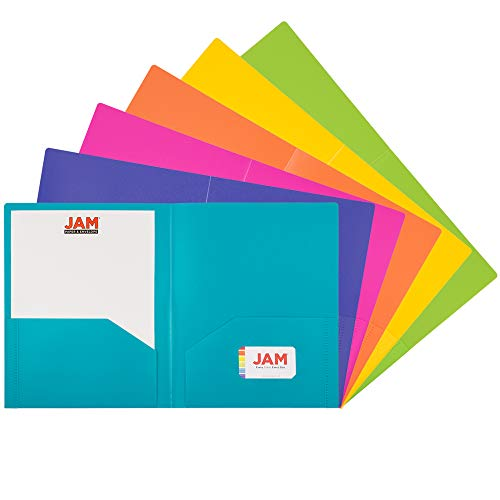 JAM PAPER Heavy Duty Plastic 2 Pocket School Folders - Assorted Fashion Colors - 6/Pack ()