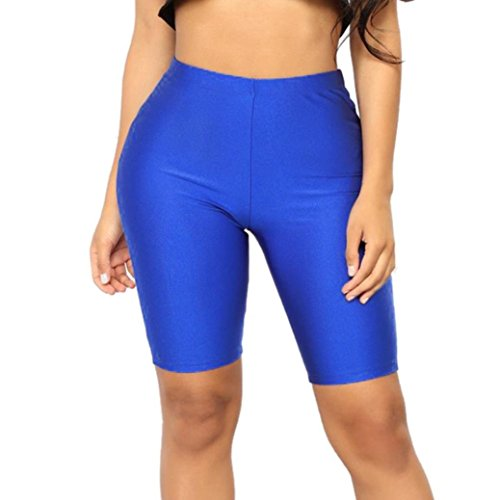 Blue One Piece Outfit - Women Capri Leggings,Solid High Elasticity Leggings Gym Active Pants Cycling Shorts by-NEWONESUN