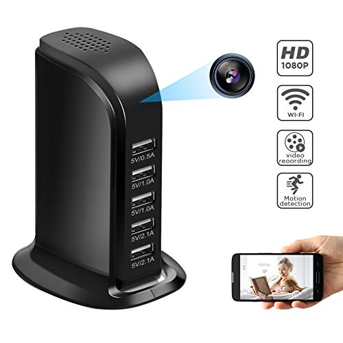 WiFi Hidden Camera Charger, Mini Spy Camera Wireless USB Camera Adapter 1080P with 5 Port Plug Desktop Charging Station Charger Camera, Home Surveillance Camera,Full HD Nanny Cam