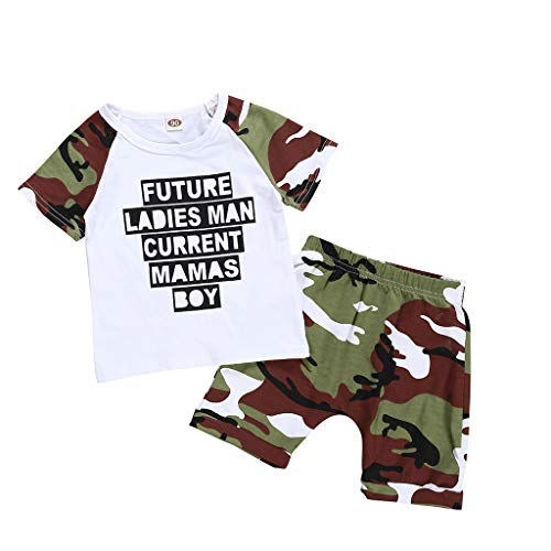 Infant Baby Boy Kid Letter Camouflage T Shirt Short Sleeve Tops+Camouflage Shorts Outfits Set ()