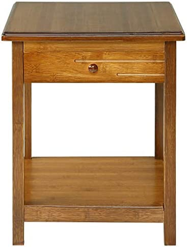 UNICOO-Antique Style Solid Wooden End Table, Sofa Side Table, Bedroom Nightstand, Plant Stand, Telephone Stand, Vase Stand with Drawer and Shelf. Antique Brown-End Table